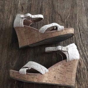 Toms Jute Strap Cork Wedge Heel Size 10